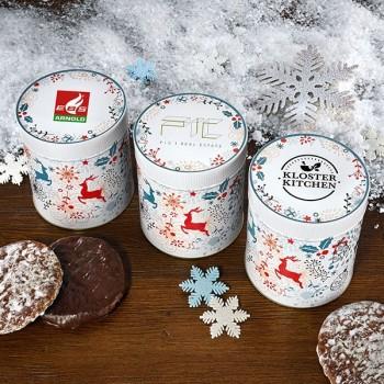 Weihnachtsdose Rentier mit Ihrem Firmenlogo (Bereits ab 50 Stück erhältlich.)